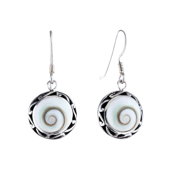 Silverly Women's .925 Sterling Silver White Shiva Eye Round Shell Filigree Dangle Earrings - C311TNW1WM3