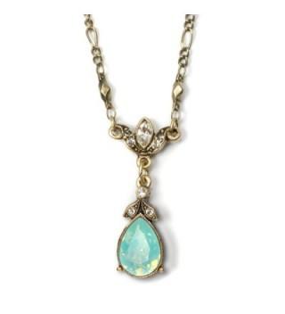 Swarovski Crystal Teardrop Pendant Simple Bridesmaids Vintage Wedding Necklace - C812IO4WMTH