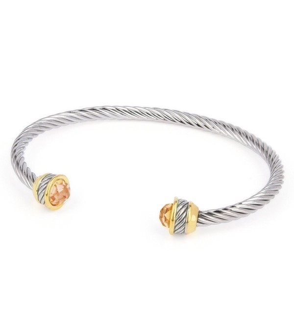 Faceted Zirconia Twisted Bangle Champagne - Champagne - CC12OBMUQSW