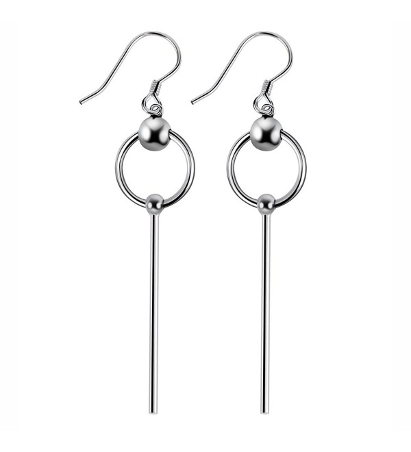 925 Sterling Silver Bead with Long Line Bar Dangle Earrings - CQ183AOLY66