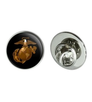 "Marine Corps USMC Golden Logo on Black Eagle Globe Anchor Officially Licensed 0.75"" Lapel Pin Tie Tack - CZ182SSOHHT"