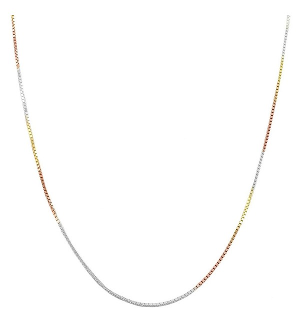Tricolor Sterling Silver 0.8mm Venetian Box Chain Necklace (16- 18- 20- 22- 24- 30 or 36 inch) - CH118NQGIFL