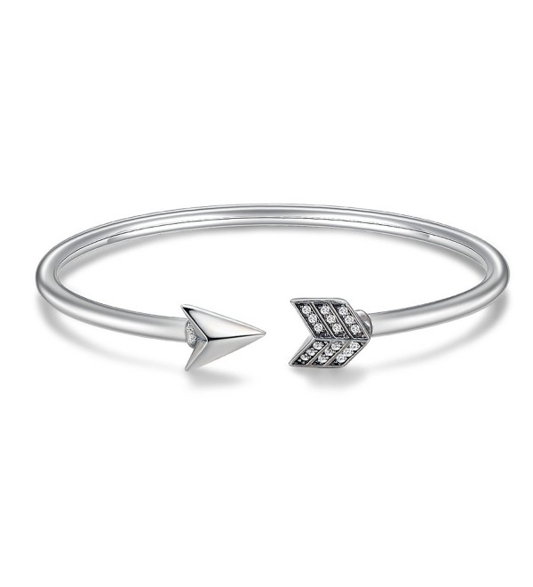 Genuine 925 Sterling Silver Cupid's Arrow Cuff Bracelets & Bangle for Women Jewelry - C1187RDULXT
