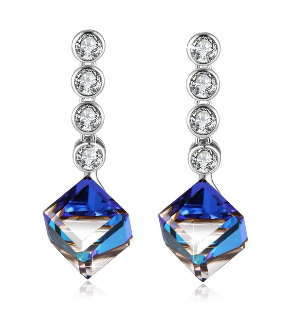 PLATO Earrings Swarovski Crystals Fashion - gradually changing Blue - CN12O5LL39O