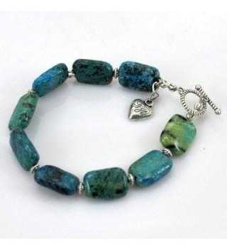 "006 Green Chrysocolla Beads Bracelet W/silver Tone Toggle 8"" B13010154b - CE125MMUWEL"