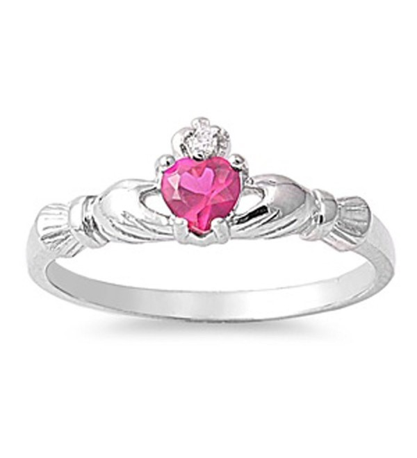 CHOOSE YOUR COLOR Sterling Silver Claddagh Heart Promise Ring - Simulated Ruby - CL11GC187Q7