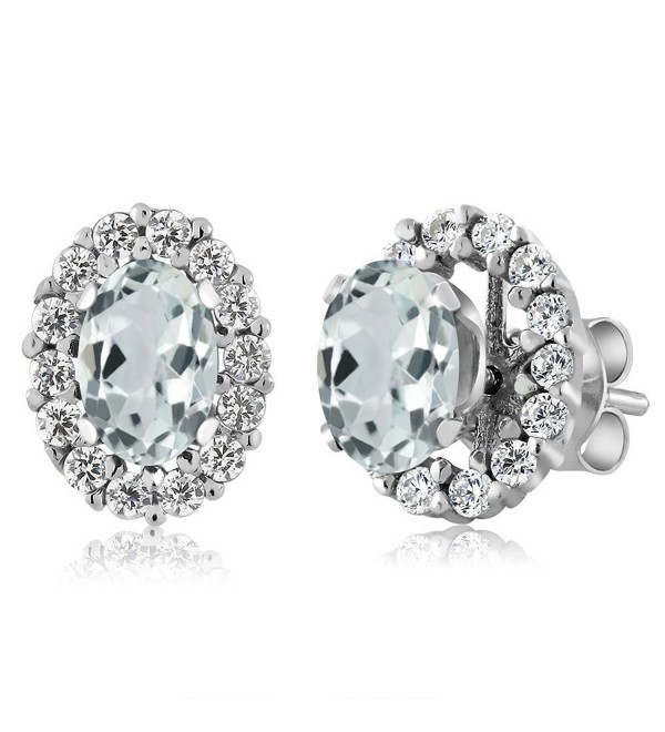 1.22 Ct Oval Sky Blue Aquamarine 925 Sterling Silver Stud Earrings with Jackets - CN11MDF37BL