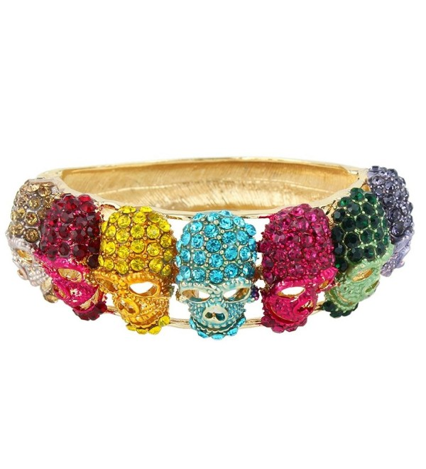EVER FAITH Austrian Crystal Vintage Style Halloween Lots Skull Bangle Bracelet - Multicolor Gold-Tone - C411I4ZJAB9