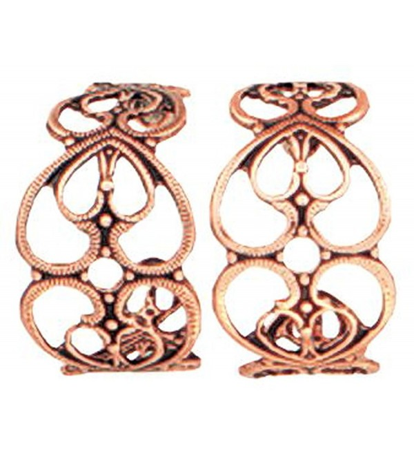 Copper Hoop Intertwined Hearts Engraved Earrings - C81271KUBAV