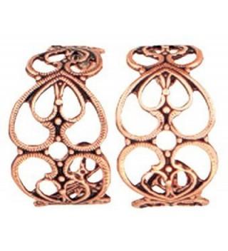 Copper Intertwined Hearts Engraved Earrings in Women's Hoop Earrings