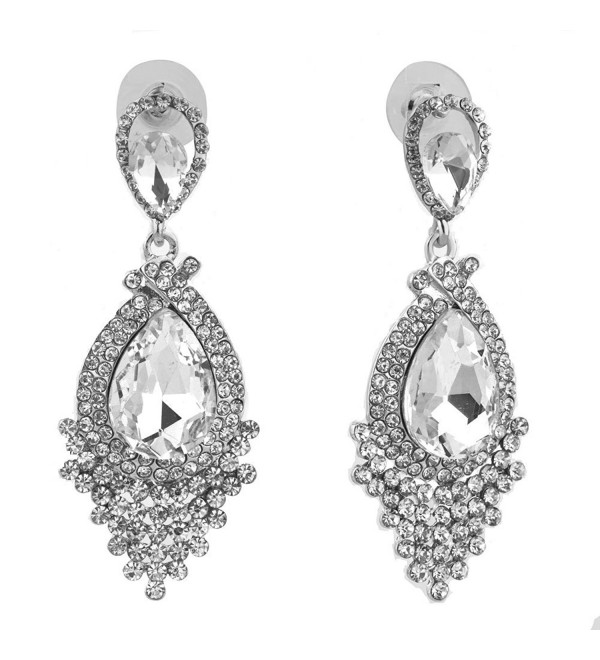 Corykeyes Halo Tassel Teardrop Wedding Statement Earrings - White - C817YZ3OROL