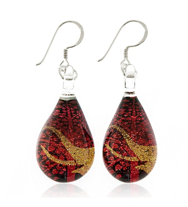 925 Sterling Silver Hand Painted Murano Glass Golden Elephant Red Bodhi Tree Dangle Earrings - CL11WFH1FFH