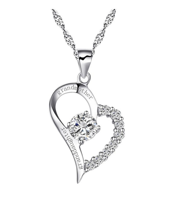 "Sterling Silver Heart ""Grandmother Granddaughter"" Necklace Cubic Zirconia Engraved Pendant with Chain - CV17YCX9CX2"