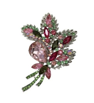 TTjewelry Beautiful Pink Flower Leaf Silver-Tone Brooch Pin Crystal Rhinestone Pendant - CQ12DS6CO0N