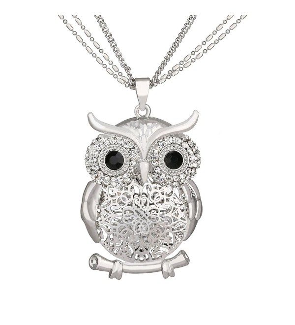 SCIONE Multichain Hollow Night Owl Charm Lockets Pendant Necklace(Silver) - CP12O4U8YTJ