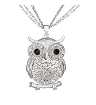 SCIONE Multichain Hollow Night Owl Charm Lockets Pendant Necklace(Silver) - CP12O4U8YTJ