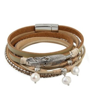 Leather Bracelet Feather Braided Valentines