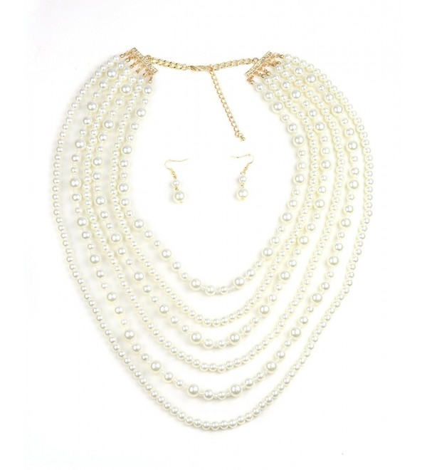 Simulated Pearl Fashion Necklace and Earring Set - Cream- Multi Layered Strand - CV12I1RO1MD