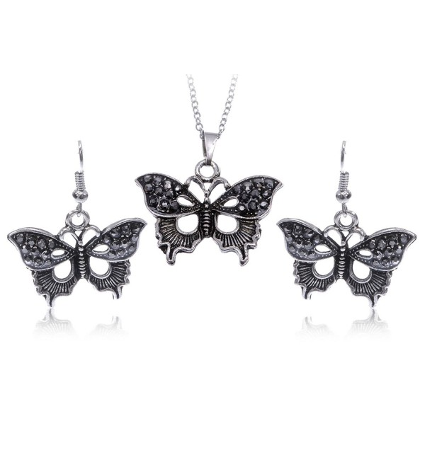 Alilang Silvery Tone Gunmetal Rhinestone Texture Wings Butterfly Necklace Earring Set - C411OP8E9MF