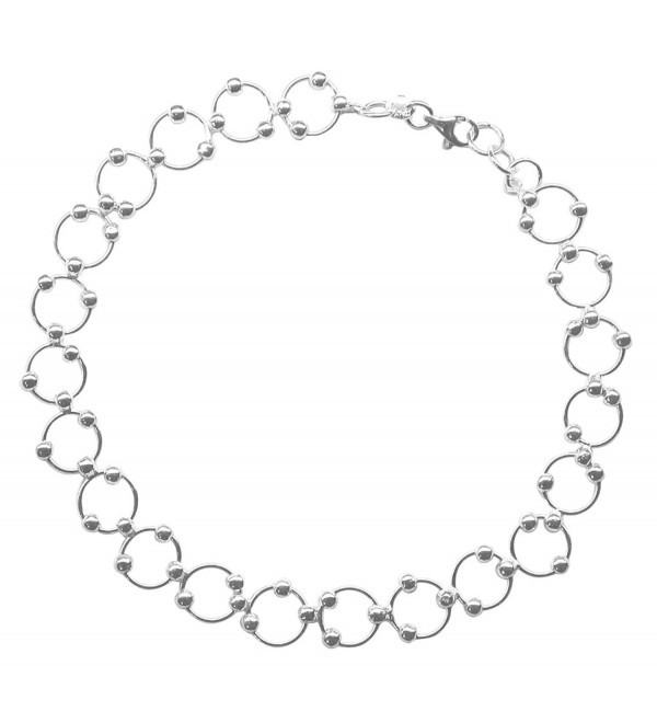 Sterling Silver 10-inch Comfortable Hoop & Bead (Beaded Circle Link) Anklet - Ankle Bracelet - C411D532Z9F