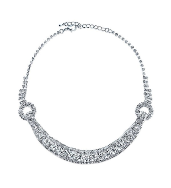 Bling Jewelry Crystal Buckle Bridal Wedding Choker Silver Plated Necklace 14 Inches - CU11Y75F46V