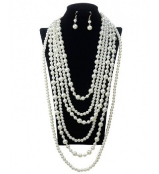 Simulated Pearl Fashion Necklace Earring
