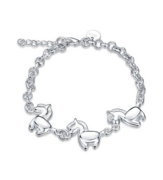 Horses Charm Cuff Bracelet Sterling Silver Plated for Women Girl Jewelry Gift - CW17Z77CG7I