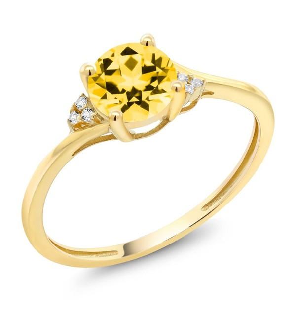 10K Yellow Gold Diamond Accent Ring Set with Honey Topaz from Swarvoski - CC183M4NE3Z