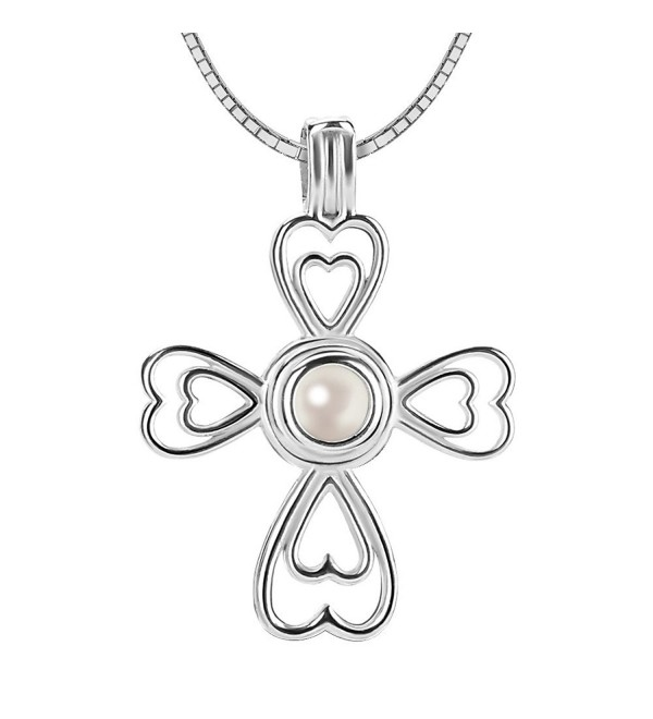 Women 925 Sterling Silver Cross Locket Pendant Necklace with Round Akoya Cultured Pearl 6-7mm - CZ120PH8547