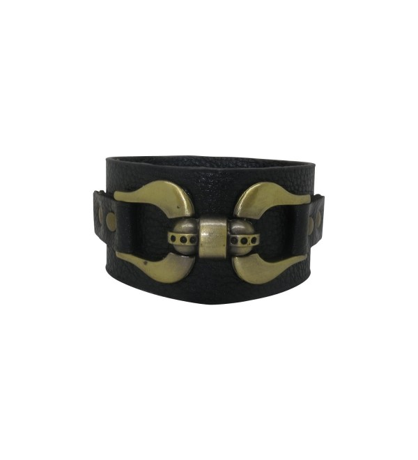 Black Leather Gold Tone Horseshoe Buckle Adjustable Cuff Bracelet - C911YL7JD3F