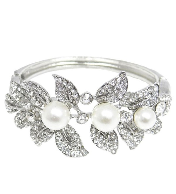 EVER FAITH Bridal Silver-Tone Flower Leaf Simulated Pearl Clear Austrian Crystal Bracelet - C911DSBXCDH