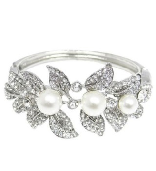 EVER FAITH Bridal Silver-Tone Flower Leaf Simulated Pearl Clear Austrian Crystal Bracelet - C911DSBXCDH