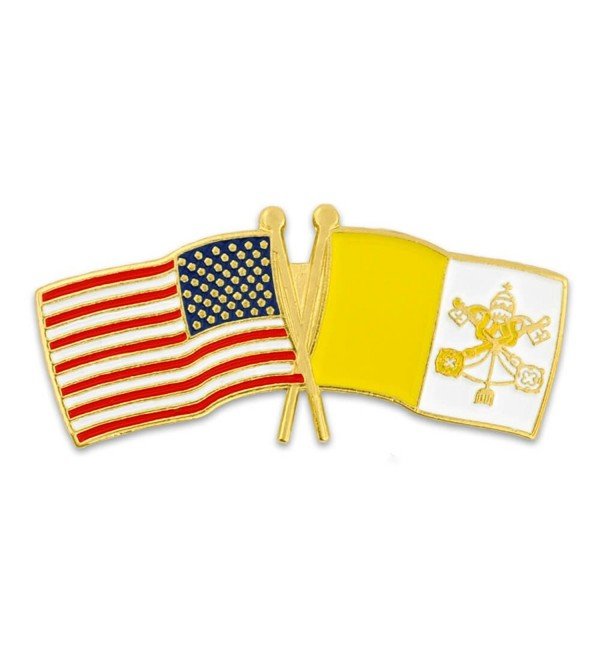 PinMart's USA and Vatican City Crossed Friendship Flag Enamel Lapel Pin - C9119PELT45