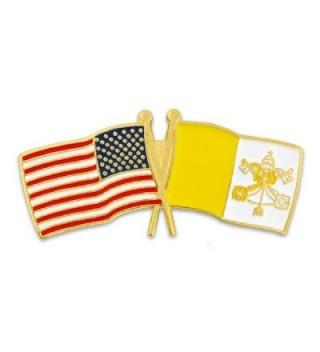 PinMart's USA and Vatican City Crossed Friendship Flag Enamel Lapel Pin - C9119PELT45