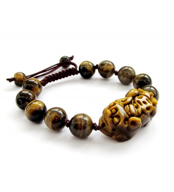 Hand Crafted Adjustable Tiger Eye Beads Fortune Pixiu Dragon Bracelet - C811CWEJZDR