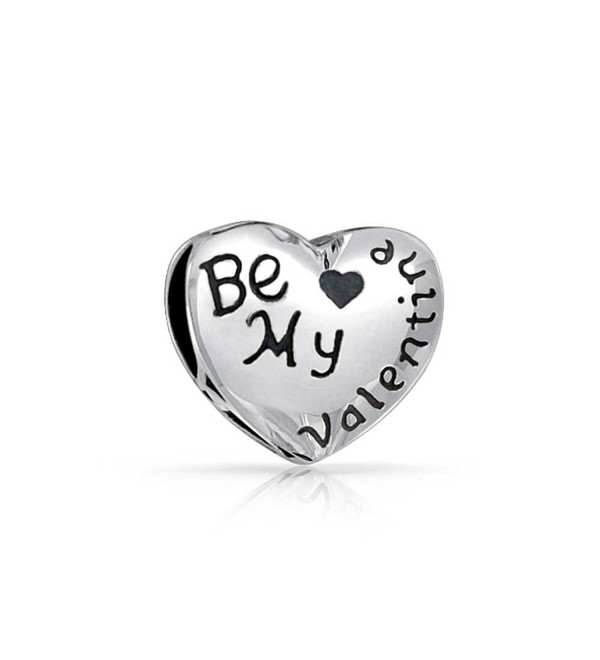 Bling Jewelry Heart Shaped Be My Valentine Charm Bead .925 Sterling Silver - C711C858OHX