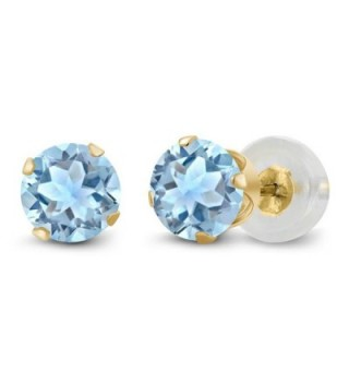 1.20 Ct Sky Blue Topaz Gemstone 14K Yellow Gold Stud Women's Earrings - C4116KM3OXJ