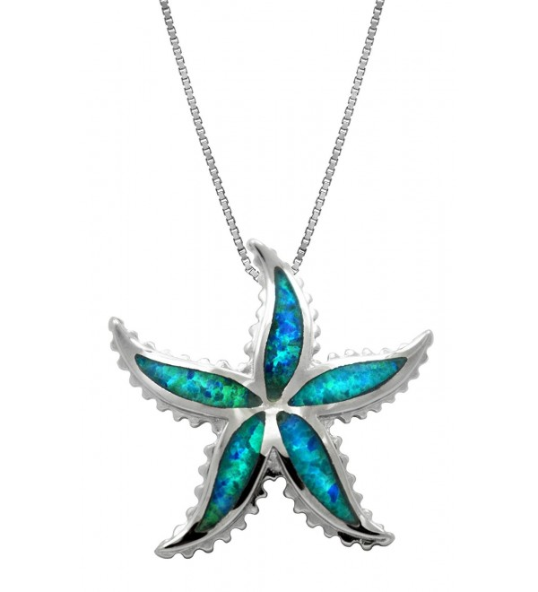 "Sterling Silver Starfish Necklace Pendant with Simulated Blue Opal and 18"" Box Chain - CC119BOZZLR"