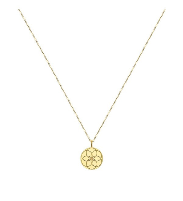 Mom To Be Seed of Life Necklace Pendant- with CZ by Taylor & Vine - Gold tone with Clear CZ - C7182S4XDIN