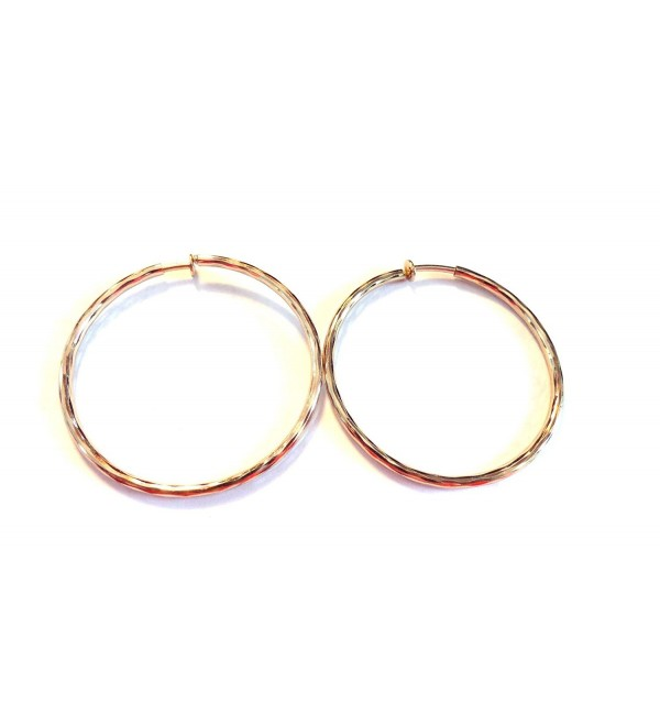 Clip on Earrings Hypoallergenic Hoop Earrings 2.25 Inch Gold Tone Hoop Earrings - C31274L98V1