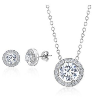 Mia Sarine Round Cubic Zirconia Halo Earring and Pendant Set in Rhodium over Sterling Silver - CT12LJIDQPJ