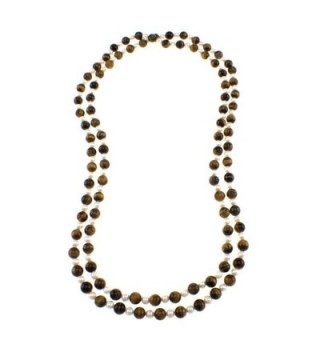 Pearlz Ocean Tigers Eye and White Freshwater Pearl Endless Necklace - C311JPUFZR1