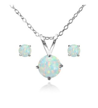 Sterling Silver Simulated White Opal Round Solitaire Necklace and Stud Earrings Set - Simulated White Opal - CP12G0EGA4P