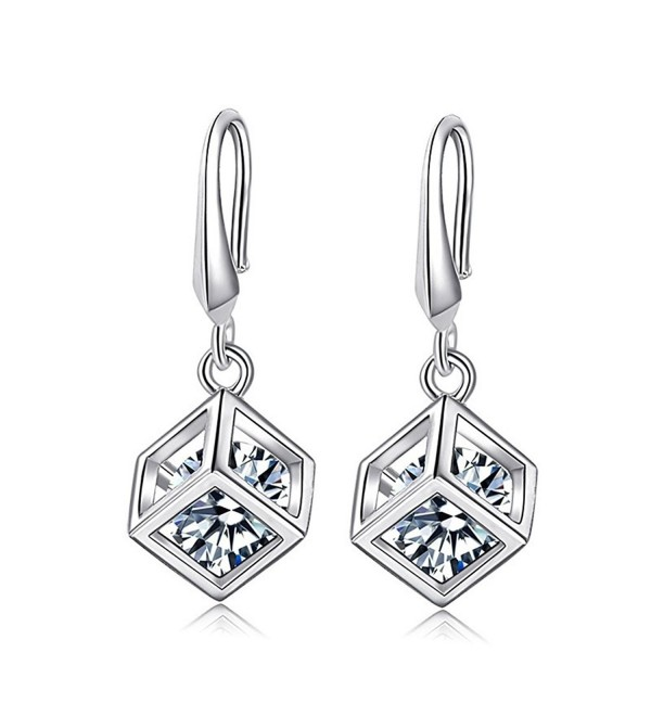 KOREA-JIAEN S925 Sterling Silver Earring Sets Love Magic Cube Zircon Square Pendant Earrings - Style-3 - C412JZ32JZD