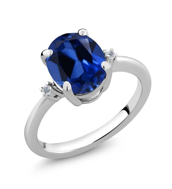 Sterling Silver Blue Simulated Sapphire & White Topaz Women's Ring (3.52 cttw- Available in size 5- 6- 7- 8- 9) - CK11PH5YTQV
