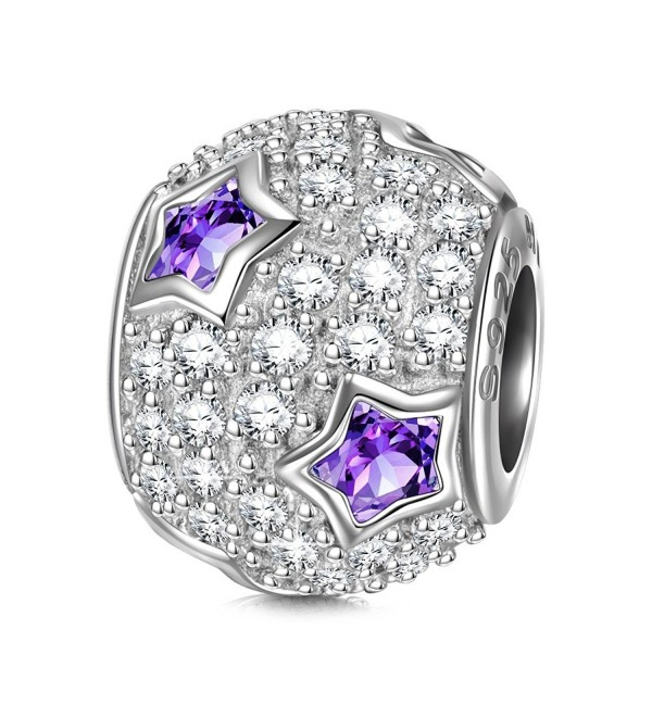 "NinaQueen ""Star Pave"" 925 Sterling Silver Purple Cubic Zirconia Bead Charms - CV11Y2577H5"