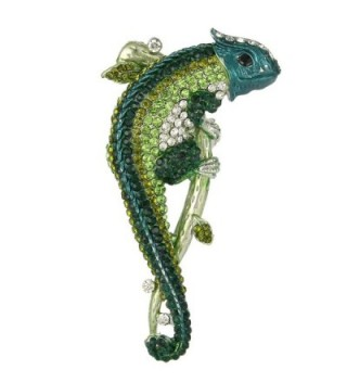 EVER FAITH Women's Austrian Crystal Enamel Animal Long Tail Chameleon Brooch - Green Gold-Tone - CH11F6TEL1L