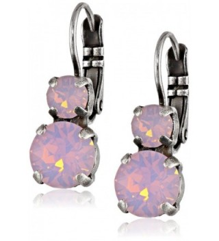 Mariana Silver Plated Petite Round Rose Water Opalescent Crystal Drop Earrings - CA11GW5ZST7