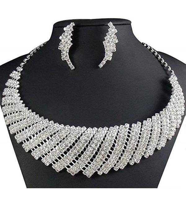 Wedding Necklace by Taoqiao-Cubic Zircon Rhinestone Bridal Necklace and Earrings Set - CF11LYU2UMD