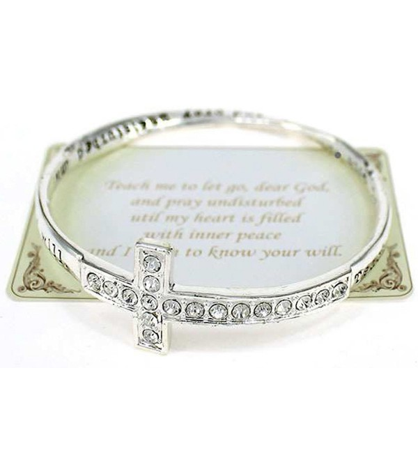 Inspirational Cross Crystal Bracelet Teach to let go dear god pray until my heart fills inner peace - CX11FIPRPHZ